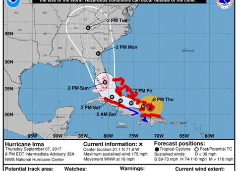 Huracán Irma ya causa lluvias en Cuba; Florida, en alerta máxima