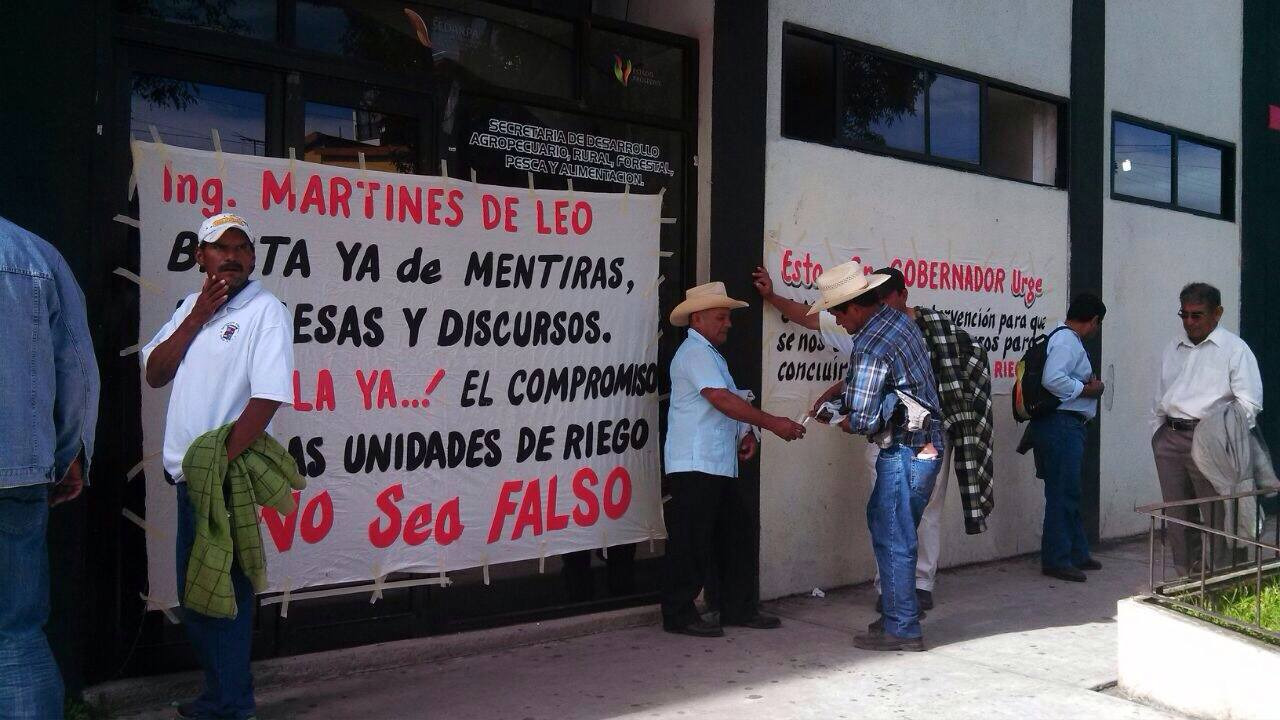 Siguen las protestas de campesinos en la Sedarpa