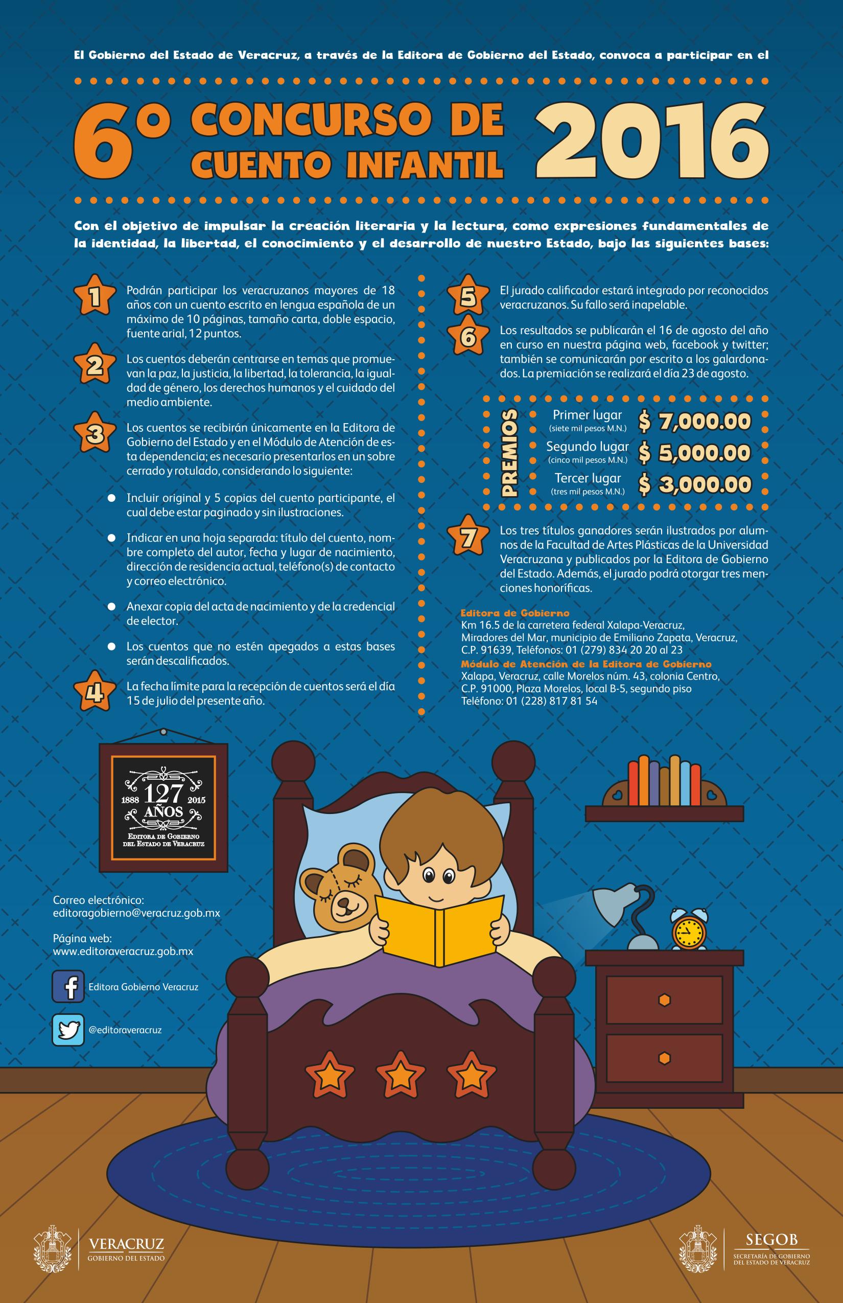 Invita segob al 6 concurso de cuento infantil 2016 e for Concurso de docencia 2016