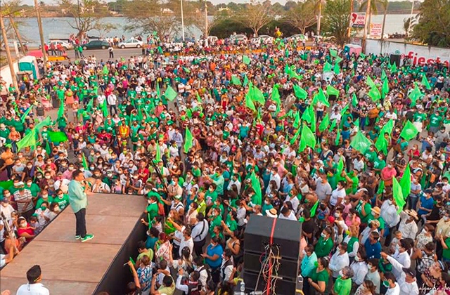 Sin sana distancia, PVEM realiza tres masivos en Veracruz
