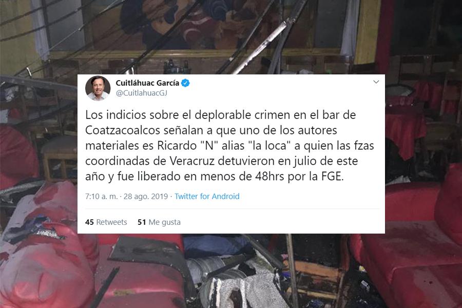 En tuit, Cuitláhuac señala a presunto autor material por atentado
