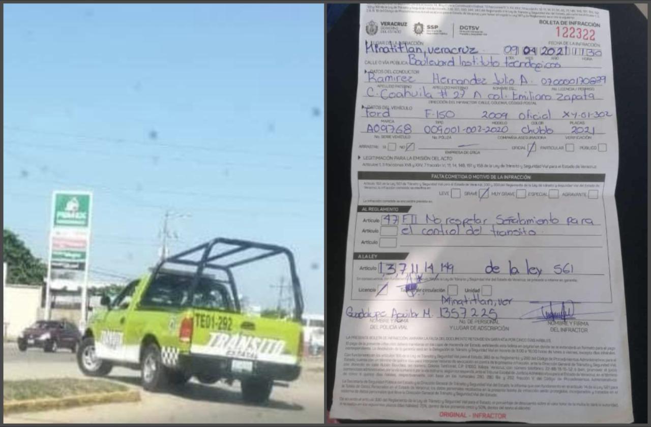 Tránsito de Mina, infraccionado tras pasarse alto con vehículo oficial