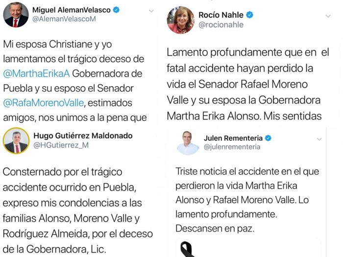 Políticos de Veracruz lamentan fallecimiento de Martha Erika y Moreno Valle