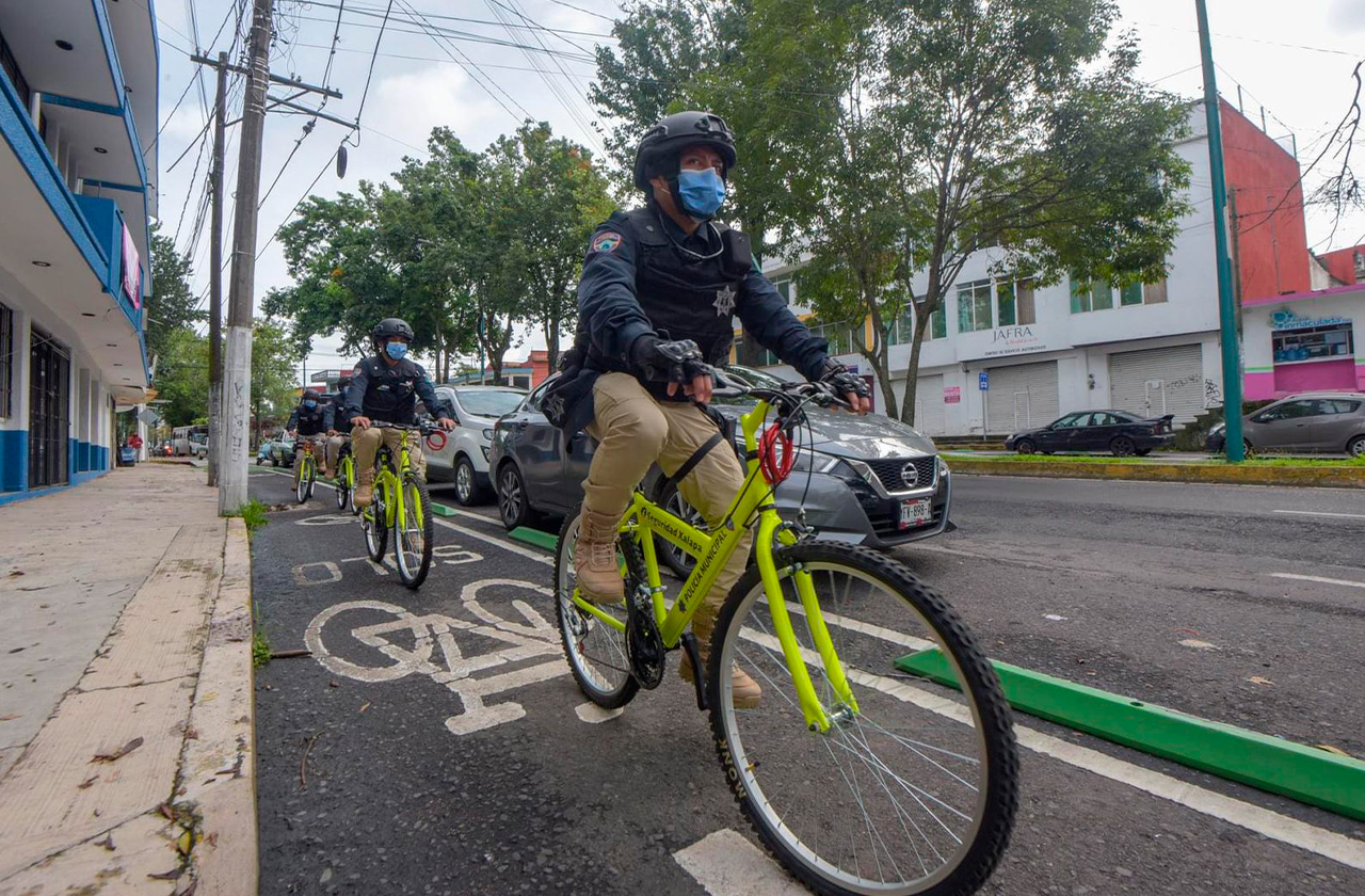 ¿Ya los viste? Policías ciclistas inician patrullaje en Xalapa