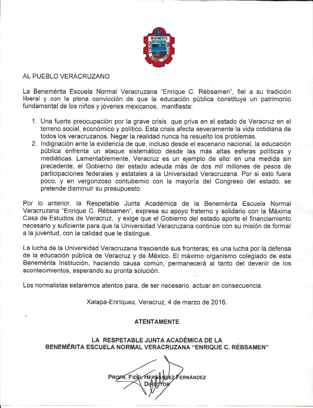 UV recibe apoyo oficial de la BENV y del SITEV