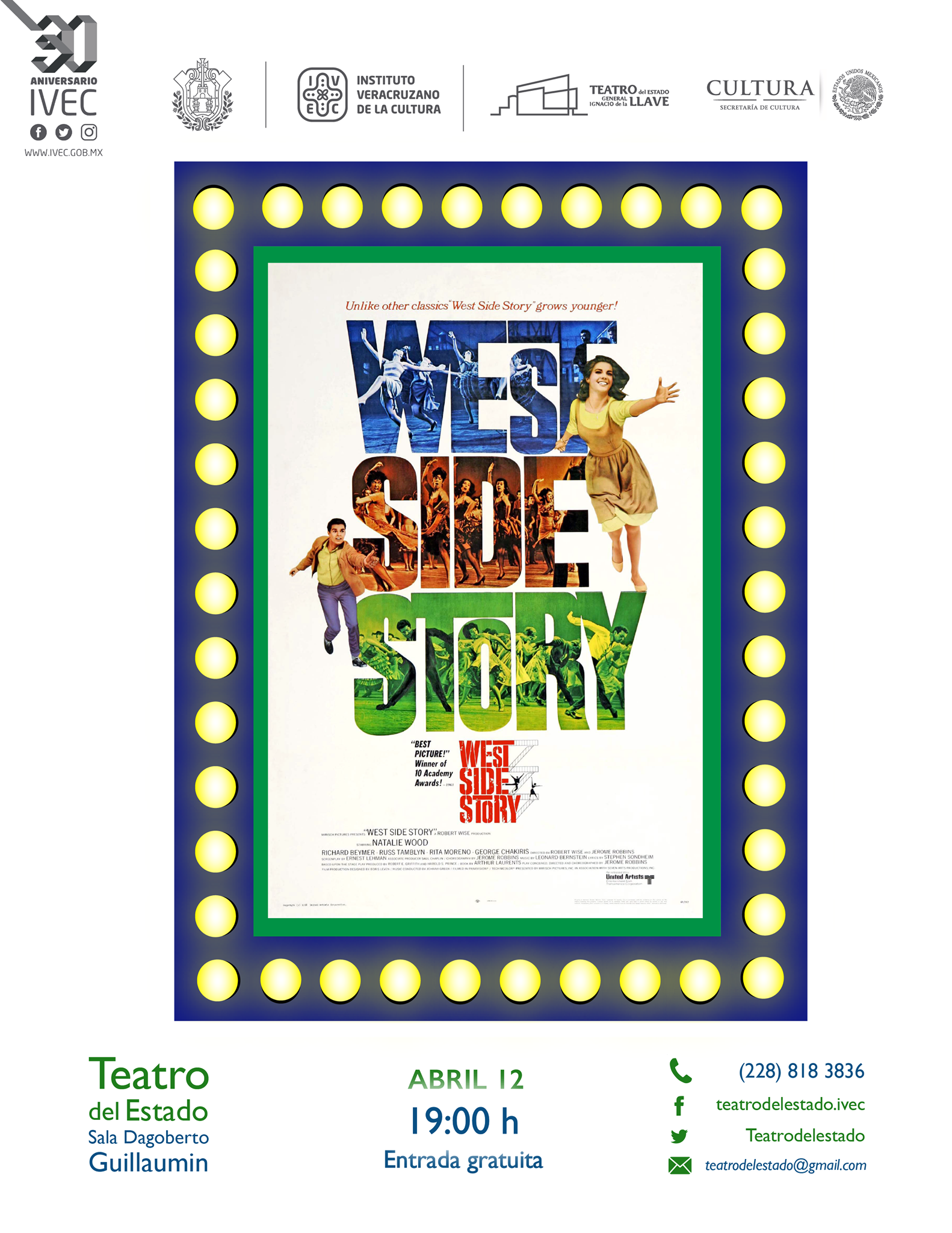 Invita IVEC a ver la cinta multipremiada West side story, en Teatro del Estado