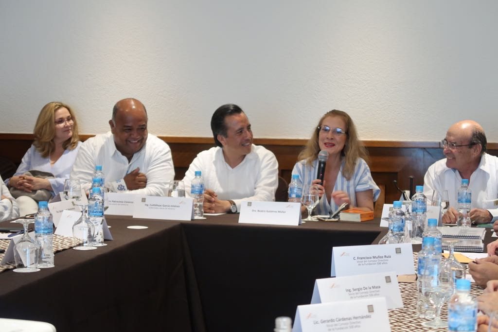 Beatriz Gutiérrez asiste a reunión sobre los 500 años de Veracruz