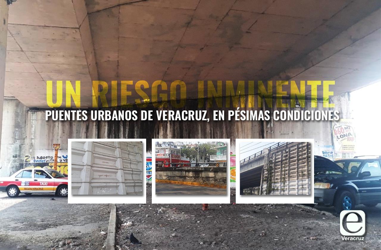 Daños en puentes urbanos de Veracruz crecen ante indiferencia de autoridades