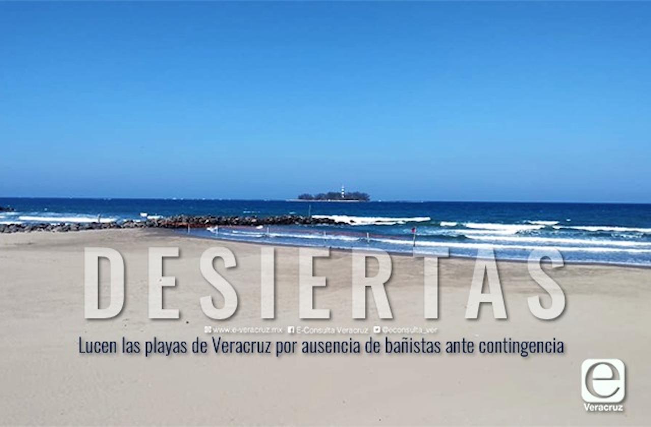 Playas de Veracruz, desiertas ante contingencia por coronavirus