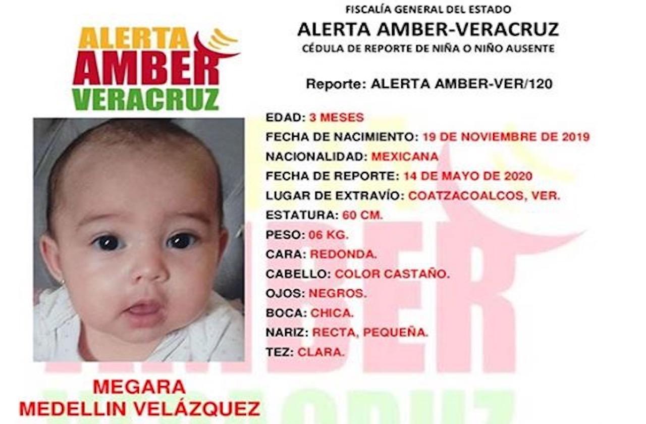 Activan alerta Ámber por hija de pareja asesinada en Coatza