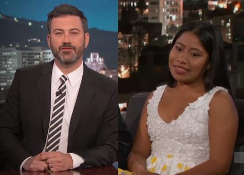 Yalitza Aparicio se incomoda por pregunta de Jimmy Kimmel; lo tachan de racista